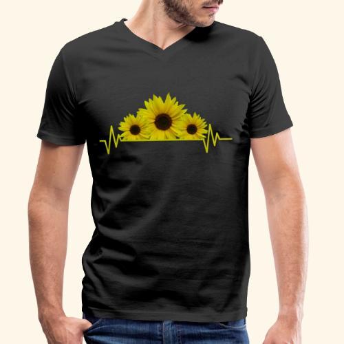 Sonnenblumen Herzschlag Sonnenblume Blumen Blüten - Männer Bio-T-Shirt mit V-Ausschnitt von Stanley & Stella