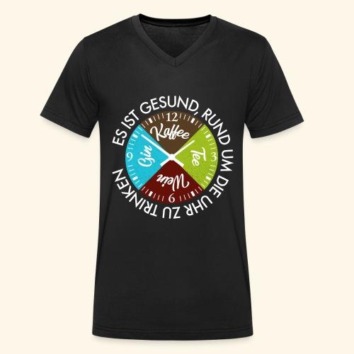 Kaffee Tee Wein Gin Rund um die Uhr ist Gesund - Männer Bio-T-Shirt mit V-Ausschnitt von Stanley & Stella