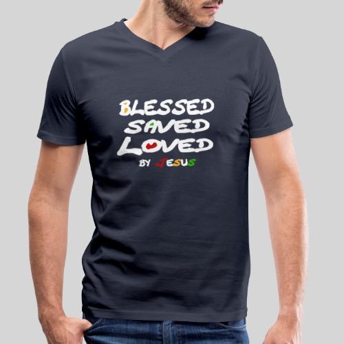 Blessed Saved Loved by Jesus - Männer Bio-T-Shirt mit V-Ausschnitt von Stanley & Stella