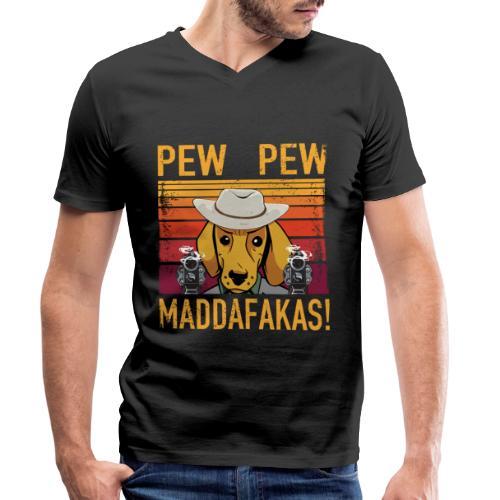 PEW PEW Maddafakas! Dackel Cowboy Vintage funny - Männer Bio-T-Shirt mit V-Ausschnitt von Stanley & Stella