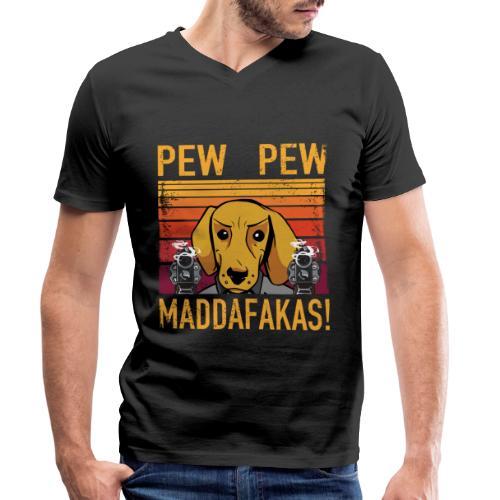 PEW PEW Maddafakas! Dackel Hund Vintage funny - Männer Bio-T-Shirt mit V-Ausschnitt von Stanley & Stella