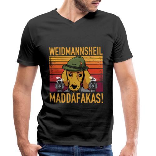 Weidmannsheil Maddafakas! Dackel Jäger Vintage fun - Männer Bio-T-Shirt mit V-Ausschnitt von Stanley & Stella