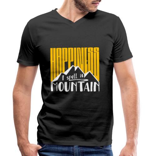 Happiness I spell it Mountain Outdoor Wandern Berg - Männer Bio-T-Shirt mit V-Ausschnitt von Stanley & Stella