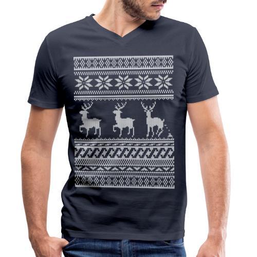 Ugly Christmas Sweater Rentier Muster (lustig) - Männer Bio-T-Shirt mit V-Ausschnitt von Stanley & Stella