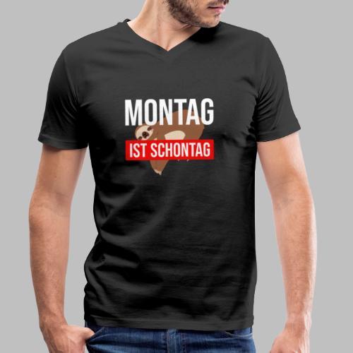 Montag ist Schontag Faultier Geschenkidee - Männer Bio-T-Shirt mit V-Ausschnitt von Stanley & Stella