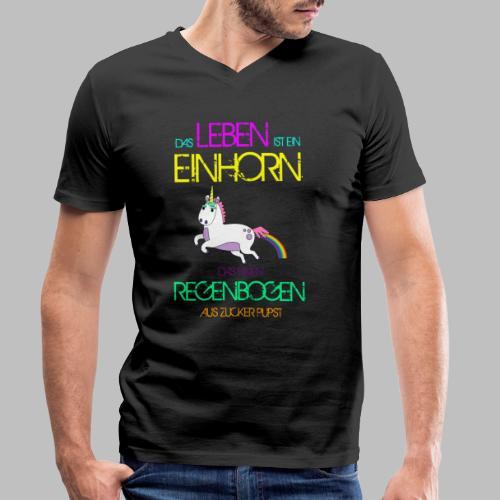 Das Leben ist ein Einhorn das einen Regenbogen - Männer Bio-T-Shirt mit V-Ausschnitt von Stanley & Stella