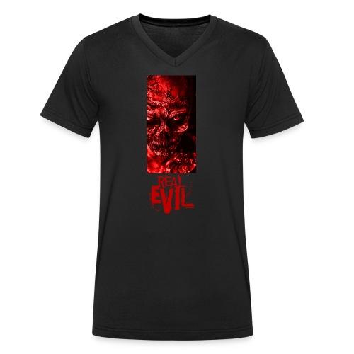 real evil - Men's Organic V-Neck T-Shirt by Stanley & Stella