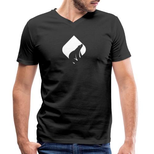 WHITEMACI - Camiseta ecológica hombre con cuello de pico de Stanley & Stella