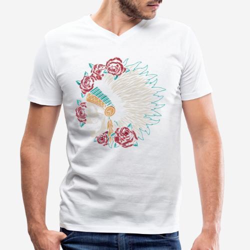 indian skull roses - Männer Bio-T-Shirt mit V-Ausschnitt von Stanley & Stella