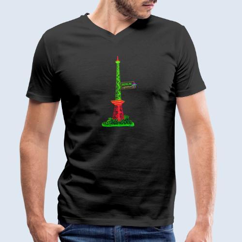 """Berliner Original """"Funkturm"""" PopArt Design - Männer Bio-T-Shirt mit V-Ausschnitt von Stanley & Stella"""