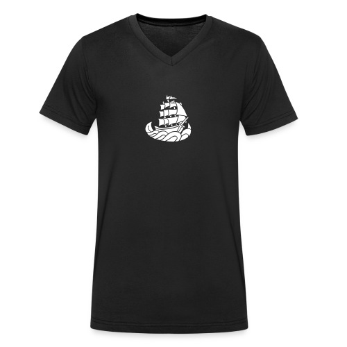 Segelschiff Dreimaster Tattoo Oldschool Sailboot - Männer Bio-T-Shirt mit V-Ausschnitt von Stanley & Stella