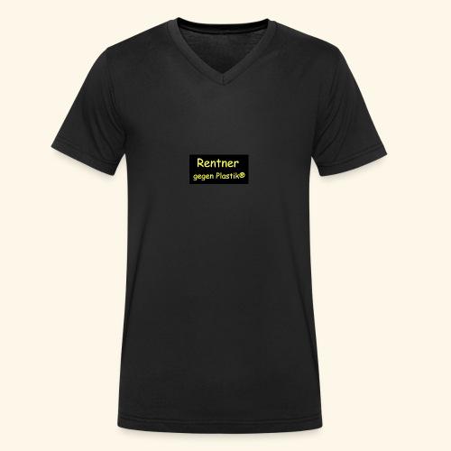 Rentner gegen Plastik - Männer Bio-T-Shirt mit V-Ausschnitt von Stanley & Stella