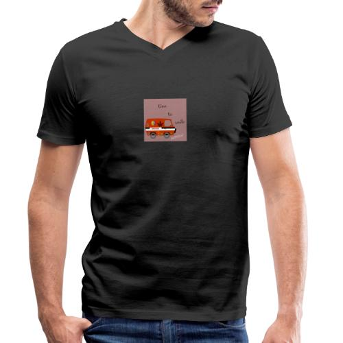 peace and love - Camiseta ecológica hombre con cuello de pico de Stanley & Stella