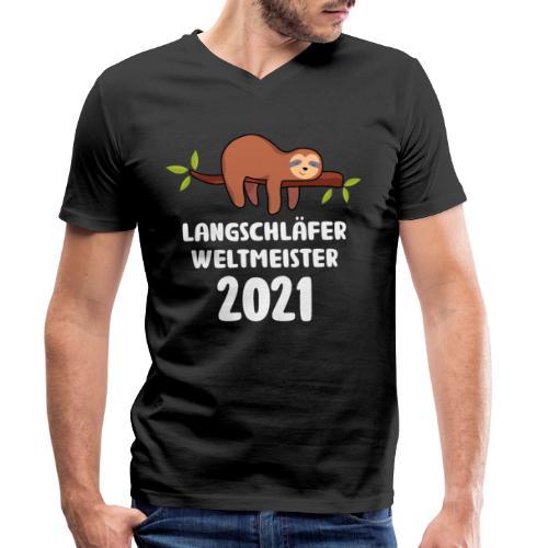 Faultier Spruch Schlafen Schlafshirt Geschenk - Männer Bio-T-Shirt mit V-Ausschnitt von Stanley & Stella
