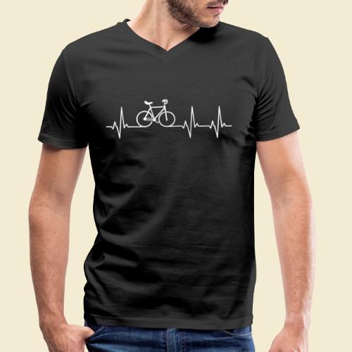 Kunstrad | Artistic Cycling | Heart Monitor White - Männer Bio-T-Shirt mit V-Ausschnitt von Stanley & Stella