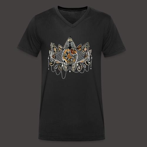 Oeil dentelle Orange Version Noir - T-shirt bio col V Stanley & Stella Homme