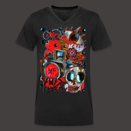 AGAC Picture Rouge et Bleu - T-shirt bio col V Stanley & Stella Homme
