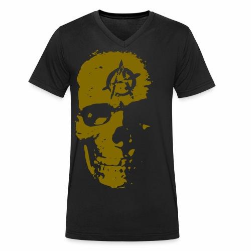Anarchie Schädel Anarchy Skull Gold Geschenk Ideen - Männer Bio-T-Shirt mit V-Ausschnitt von Stanley & Stella