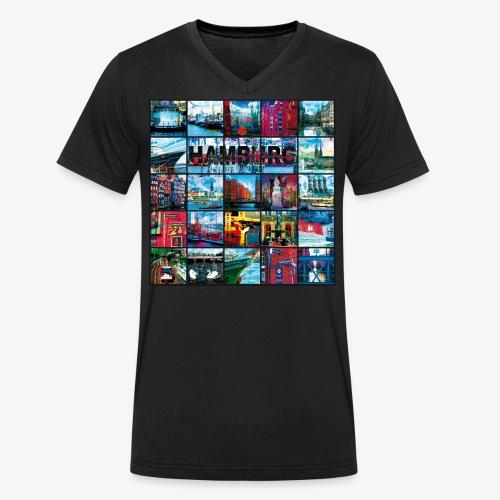03 Faszination Hamburg Collage - Margarita-Art - Männer Bio-T-Shirt mit V-Ausschnitt von Stanley & Stella