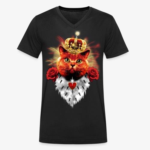 Red Roses Cat King - rote Katze mit Krone - Männer Bio-T-Shirt mit V-Ausschnitt von Stanley & Stella