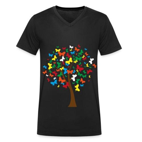 butterflies tree png - Männer Bio-T-Shirt mit V-Ausschnitt von Stanley & Stella