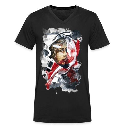 Kosmonaut Portrait Frau by carographic - Männer Bio-T-Shirt mit V-Ausschnitt von Stanley & Stella