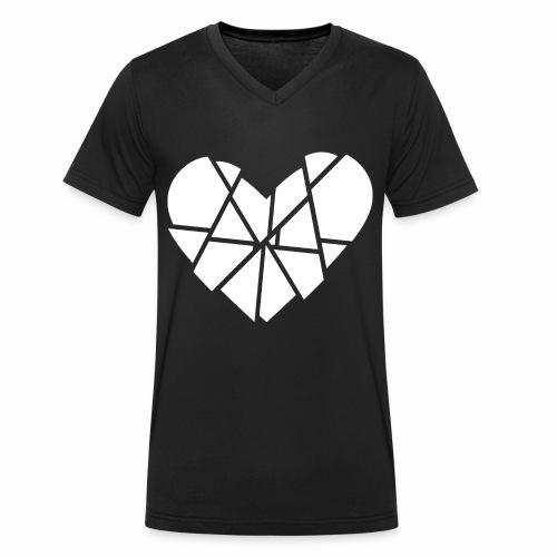 Herz Gebrochen Scherben Splitter Anti Valentinstag - Männer Bio-T-Shirt mit V-Ausschnitt von Stanley & Stella