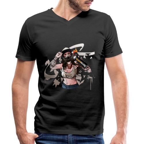 Graffiti Sprayerin 2 - Männer Bio-T-Shirt mit V-Ausschnitt von Stanley & Stella