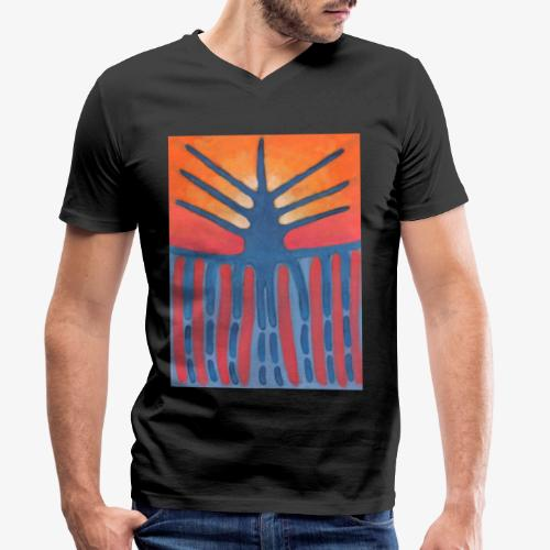 drzewo prehistoryczne 1 - Ekologiczna koszulka męska z dekoltem w serek Stanley & Stella