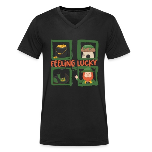 feeling lucky - stay happy - St. Patrick's Day - Men's Organic V-Neck T-Shirt by Stanley & Stella