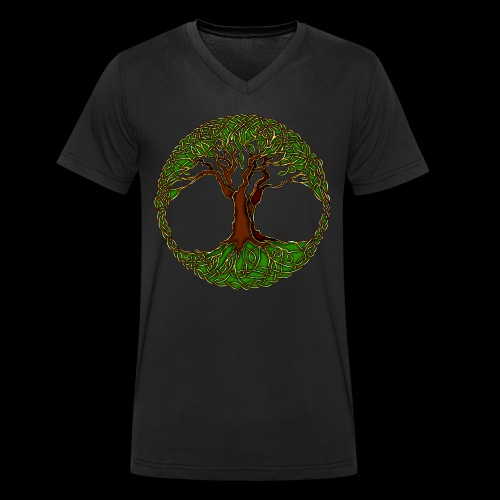 Tree of Life - colour - Men's Organic V-Neck T-Shirt by Stanley & Stella