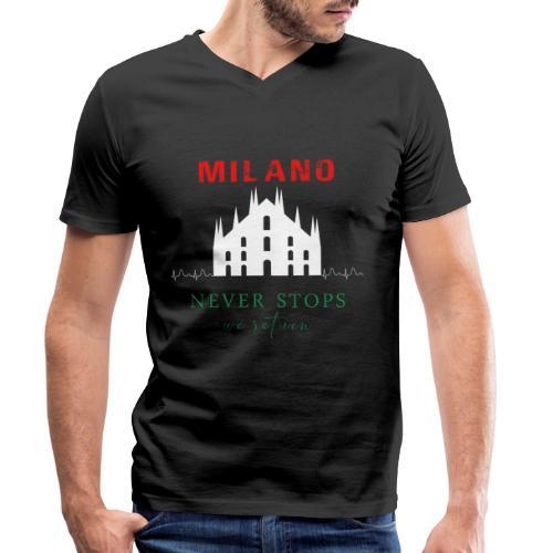 MILANO NEVER STOPS T-SHIRT - Men's Organic V-Neck T-Shirt by Stanley & Stella