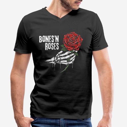 Schädelknochen Rosen - Männer Bio-T-Shirt mit V-Ausschnitt von Stanley & Stella