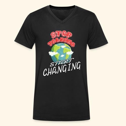 Klimaschutz Klimaerwärmung friday for future Demo - Männer Bio-T-Shirt mit V-Ausschnitt von Stanley & Stella