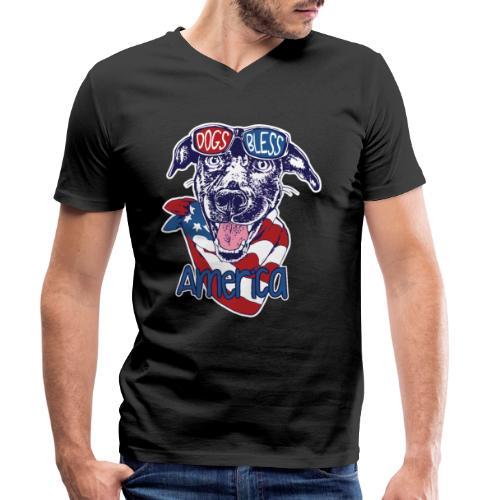 Hund und Hunde segnen Amerika Illustration - Männer Bio-T-Shirt mit V-Ausschnitt von Stanley & Stella