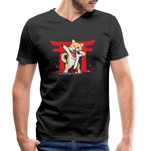 Japanischer Akita Hund mit Dab Pose - Männer Bio-T-Shirt mit V-Ausschnitt von Stanley & Stella