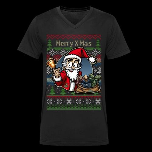 Merry X-Mas Weihnachtsmann - Männer Bio-T-Shirt mit V-Ausschnitt von Stanley & Stella