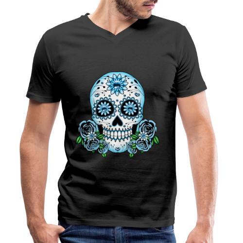 Blue Sugar Skull - Men's Organic V-Neck T-Shirt by Stanley & Stella