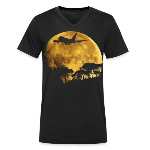 full moon - Men's Organic V-Neck T-Shirt by Stanley & Stella