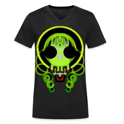 dead skull of loops of green light - Men's Organic V-Neck T-Shirt by Stanley & Stella
