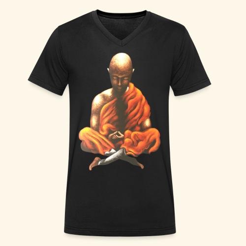 Yoga Meditation Spiritueller Buddhistischer Mönch - Männer Bio-T-Shirt mit V-Ausschnitt von Stanley & Stella