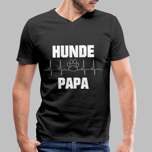 Hundepapa EKG Herzlinie Pfote - Männer Bio-T-Shirt mit V-Ausschnitt von Stanley & Stella