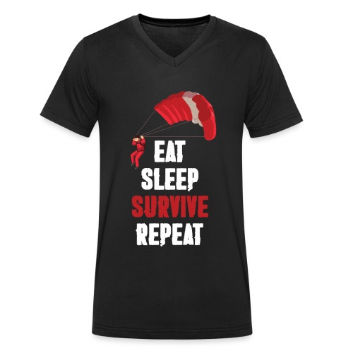 Eat - sleep - SURVIVE - repeat! - Ekologiczna koszulka męska z dekoltem w serek Stanley & Stella