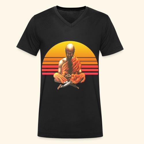 Buddha Yoga Meditation Retro Spiritueller Mönch - Männer Bio-T-Shirt mit V-Ausschnitt von Stanley & Stella