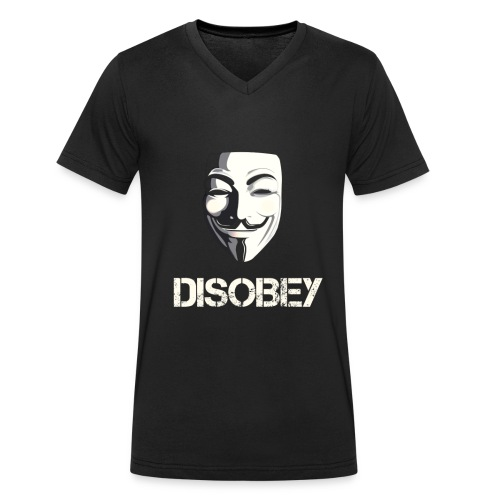 Anonymous Disobey gif - Camiseta ecológica hombre con cuello de pico de Stanley & Stella