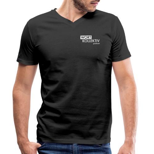 Wortkollektiv Schriftzug weiß - Männer Bio-T-Shirt mit V-Ausschnitt von Stanley & Stella