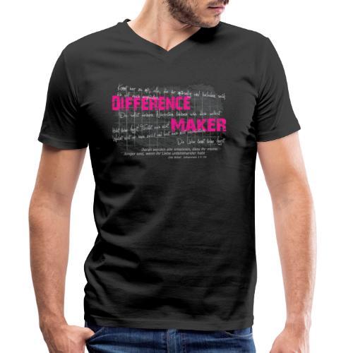 Difference Maker pink - Männer Bio-T-Shirt mit V-Ausschnitt von Stanley & Stella