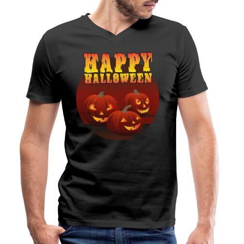 Happy Halloween med pumpor - Ekologisk T-shirt med V-ringning herr från Stanley & Stella