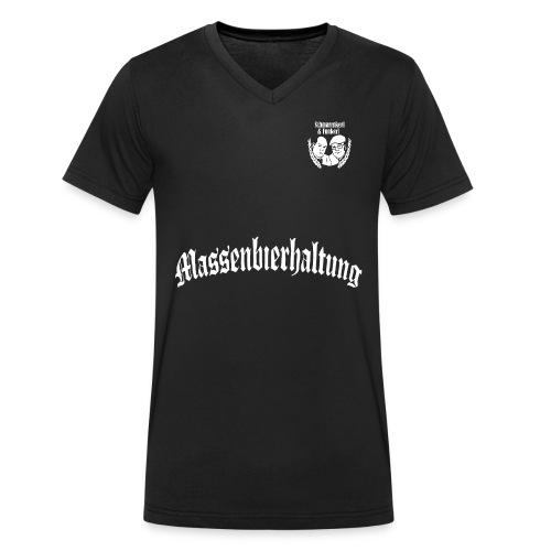 01 MASSENBIERHALTUNG weiß freigestellt png - Männer Bio-T-Shirt mit V-Ausschnitt von Stanley & Stella