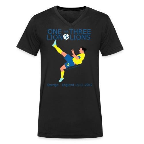 One Lion vs Three Lions - Økologisk Stanley & Stella T-shirt med V-udskæring til herrer